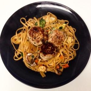 asian spaghetti and meatballs